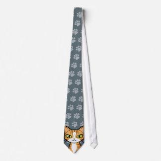 Diseñe su propio gato del dibujo animado corbata personalizada