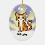 Diseñe su propio gato del dibujo animado adorno ovalado de cerámica