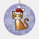 Diseñe su propio gato del dibujo animado (el adorno navideño redondo de cerámica