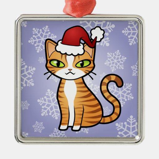 Diseñe su propio gato del dibujo animado (el adorno cuadrado plateado