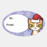 Diseñe su propio gato del dibujo animado (el pegatina ovalada