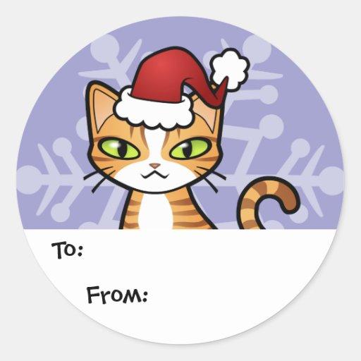 Diseñe su propio gato del dibujo animado (el pegatina redonda