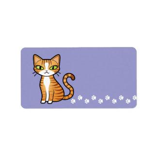 Diseñe su propio gato del dibujo animado etiquetas de dirección
