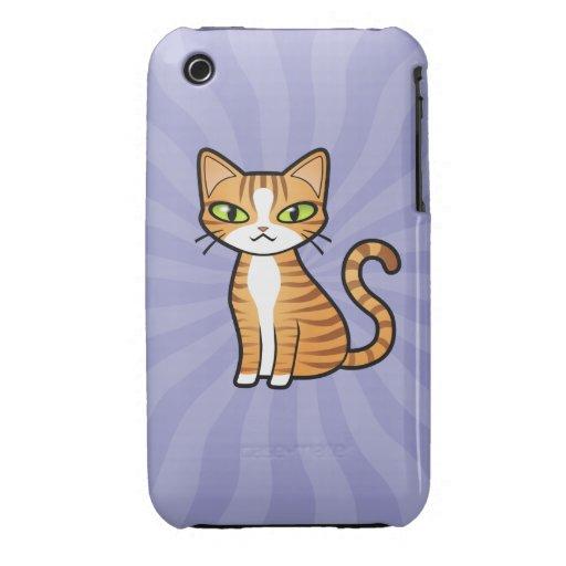 Diseñe su propio gato del dibujo animado Case-Mate iPhone 3 protector