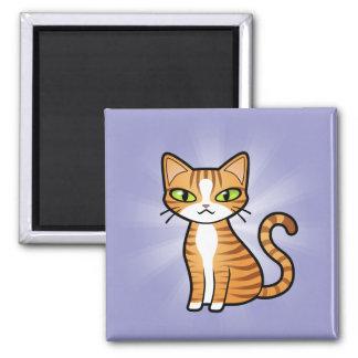Diseñe su propio gato del dibujo animado imán cuadrado