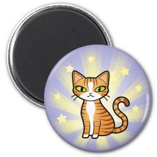 Diseñe su propio gato del dibujo animado imán redondo 5 cm