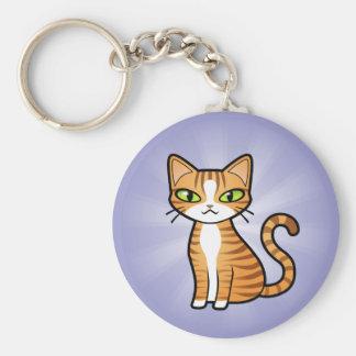 Diseñe su propio gato del dibujo animado llavero redondo tipo pin