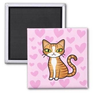 Diseñe su propio gato del dibujo animado (los cora imán cuadrado