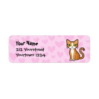Diseñe su propio gato del dibujo animado (los etiquetas de remite