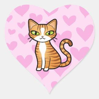 Diseñe su propio gato del dibujo animado (los pegatina en forma de corazón
