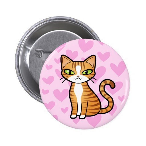 Diseñe su propio gato del dibujo animado (los pin redondo de 2 pulgadas