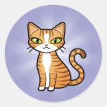 Diseñe su propio gato del dibujo animado pegatina redonda