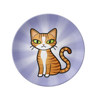 Diseñe su propio gato del dibujo animado plato de cerámica