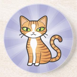 Diseñe su propio gato del dibujo animado posavasos de arenisca