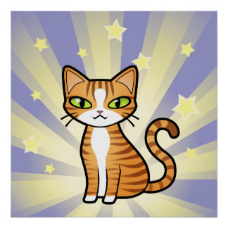 Diseñe su propio gato del dibujo animado póster