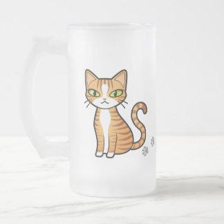 Diseñe su propio gato del dibujo animado taza de cristal
