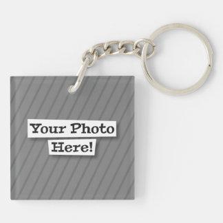 Diseñe su propio mascota y foto llavero cuadrado acrílico a doble cara
