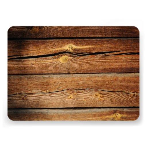 Diseñe sus propias invitaciones de madera rústicas comunicado personalizado