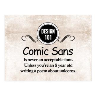 Diseño 101: Cómica sin nunca es una fuente Postales