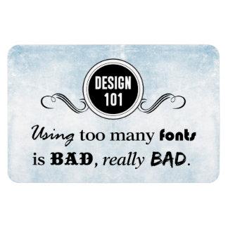 Diseño 101: Usando demasiadas fuentes es malo, Imanes Rectangulares
