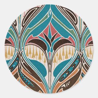 Diseño #11 de Nouveau del arte en Emporio Moffa Pegatina Redonda