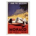Diseño 1935 del poster de Mónaco Grand Prix Tarjetas