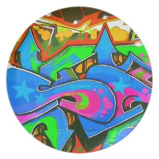 Diseño #1 de la pared de la pintada de la calle de plato