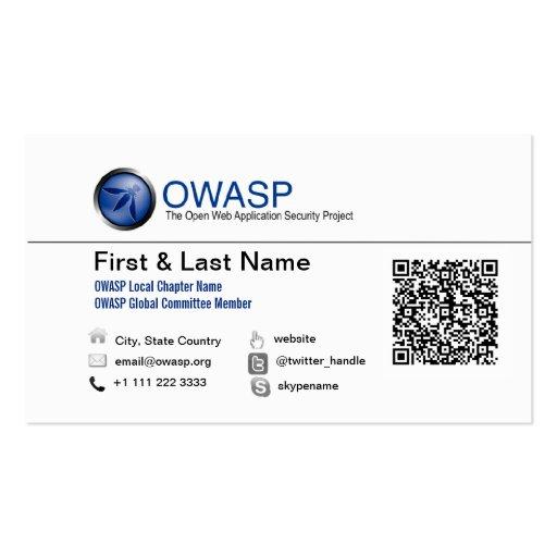 Diseño 1 de la tarjeta de visita de OWASP con QRC
