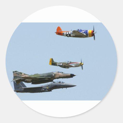 Diseño 1 del avión de combate pegatinas redondas