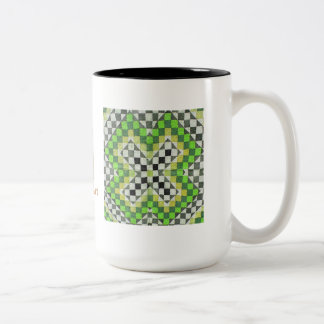 Diseño 1-Green del edredón de Ralli del vintage Tazas De Café