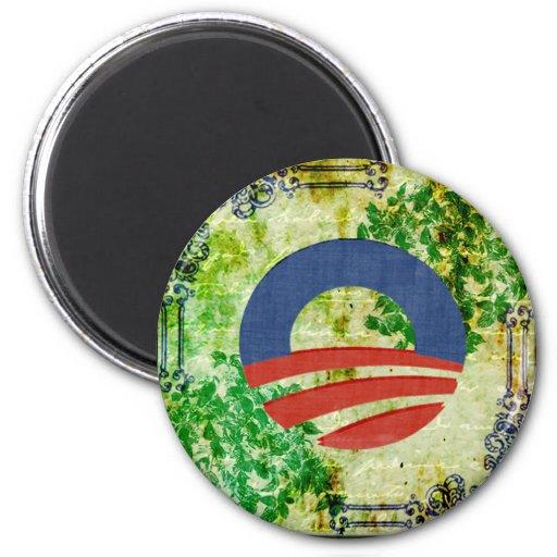 Diseño 2012 de la reelección de Obama del Grunge d Imán Para Frigorifico
