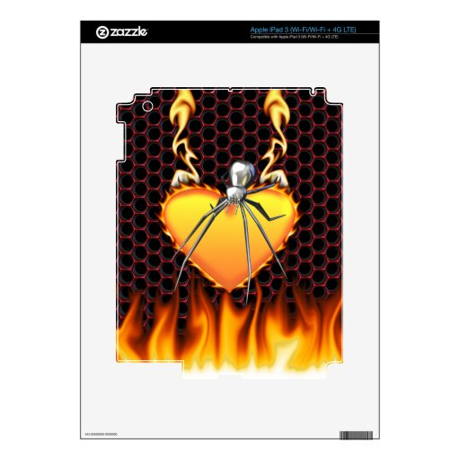 Diseño 2 de la viuda negra del cromo con el fuego pegatina skin para iPad 3