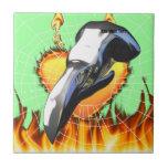 Diseño 2 del cráneo del águila del cromo con el fu azulejos ceramicos