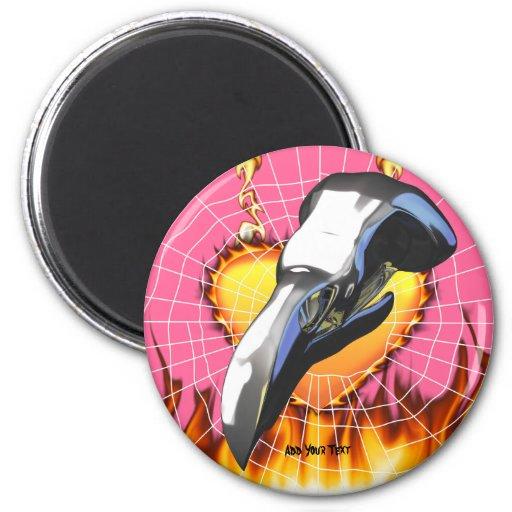 Diseño 2 del cráneo del águila del cromo con el imán redondo 5 cm