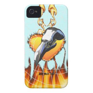 Diseño 2 del cráneo del águila del cromo con el iPhone 4 funda