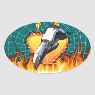 Diseño 2 del cráneo del águila del cromo con el pegatina ovalada