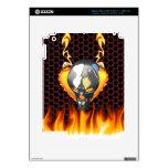 Diseño 2 del cráneo del cromo con el fuego iPad 3 skins
