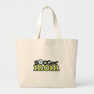 diseño 2 del texto de la mamá del fútbol bolsa tela grande