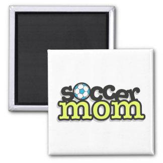 diseño 2 del texto de la mamá del fútbol imán cuadrado