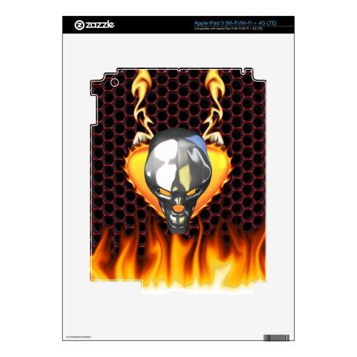 Diseño 3 del cráneo del cromo con el fuego pegatina skin para iPad 3