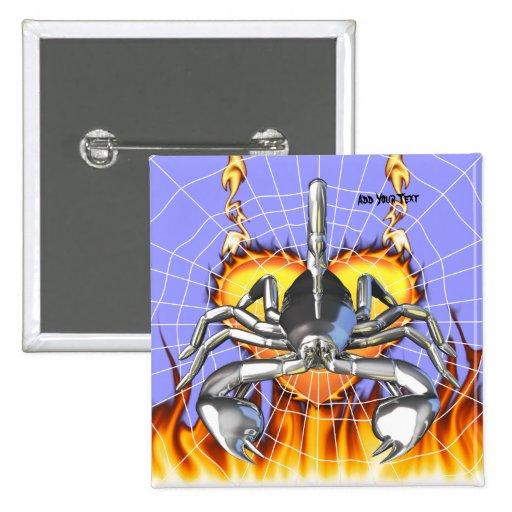 Diseño 3 del escorpión del cromo con el fuego y la pins