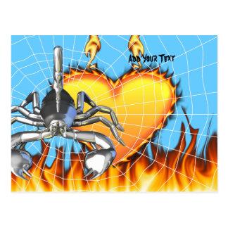 Diseño 3 del escorpión del cromo con el fuego y la postales