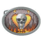 Diseño 4 del cráneo del cromo con el fuego hebillas cinturón