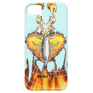 Diseño 4 del escorpión del cromo con el fuego y la funda para iPhone 5 barely there