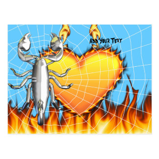 Diseño 4 del escorpión del cromo con el fuego y la tarjetas postales