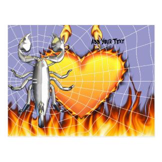 Diseño 4 del escorpión del cromo con el fuego y la postal