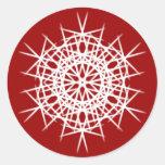 Diseño 6 del copo de nieve pegatinas redondas