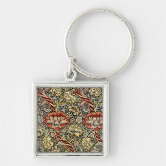 Diseño #9 de William Morris Llavero Cuadrado Plateado