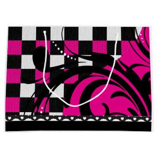 Diseño a cuadros el | del remolino negro, blanco y bolsa de regalo grande