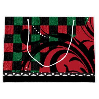 Diseño a cuadros el | del remolino negro, rojo y bolsa de regalo grande